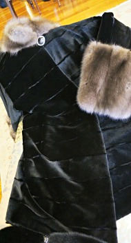 Mink coat (one-piece) with sable collar and cuffs by Castor Furs