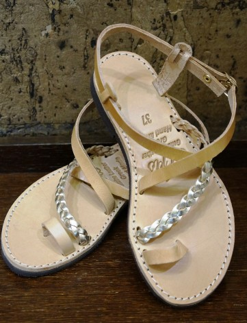 Handmade leather sandals. A traditional design with a contemporary twist and a duotone of neutral and gold by So What! | Leather Accessories
