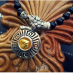 Silver and onyx | Necklace with meander elements, a macedonian coin and Athena's head (18-carat gold) by Maramenos Jewellers